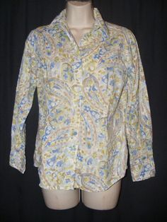 Coldwater Creek Blue Green Floral Textured Button Front Top Blouse PS S 6 8 #ColdwaterCreek #Blouse #Casual