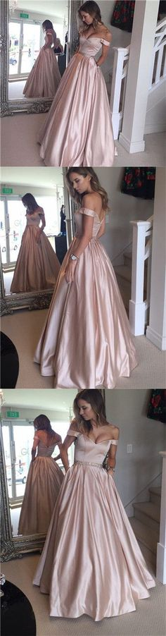 Pink Prom Dresses, Long Prom Dresses Ball Gown, 2018 Prom Dresses Off-the-shoulder, Modest Prom Dresses Satin with Beading