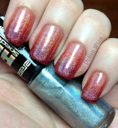 Gradient Linear Holographic  #nails #nailart