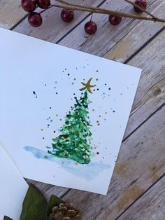 Set of 5 Christmas Cards-Christmas Cards-Holiday Cards-Watercolor Cards-Handmade Cards - Painted Christmas Cards, Watercolor Christmas Cards, Christmas Gift Decorations, Christmas Drawing, Diy Christmas Cards, Watercolor Cards, Xmas Cards, Holiday Cards, Christmas Crafts