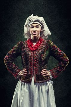 Europe | Portrait of woman wearing traditional clothes and headscarf, Kraków, Poland #embroidery