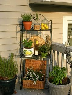 Thatu0027s A Great Idea For The End Porch Wall   A Bakeru0027s Rack With Potted  Flowers/plants And Other Pretties. (Upstairs Downstairs: Outdoor Bakeru0027s  Rack ...