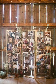 rustic country barn wedding photo display ideas / http://www.deerpearlflowers.com/wedding-photo-display-ideas/
