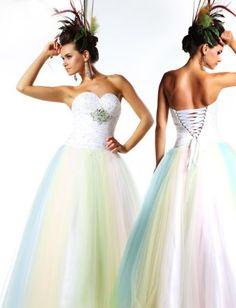 Yellow Blue Green Rainbow Wedding Dresses - http://casualweddingdresses.net/rainbow-wedding-dress-the-ideal-somewhere-over-the-rainbow-wedding-dream/