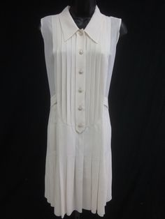 NWT AUTH CHANEL Ivory Silk Sleeveless Button Down Collared Dress Sz 42 06P @ www.ShopLindasStuff.com