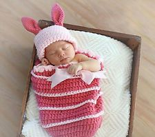 Newborn Baby Bunny Sleeping Bag Infant Knitted Crochet Costume Photo Prop Outfit