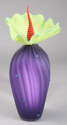"Kliszewski Glass ""Amethyst"" BOBtanical art glass sculpture 
