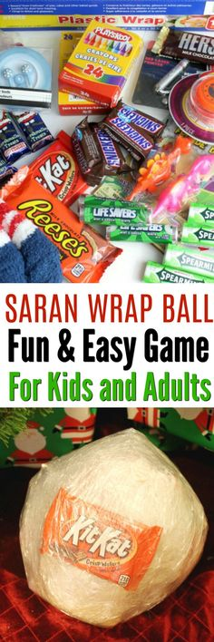 Saran Wrap Ball Party Game is a fun and Easy Game Idea for Kids and Adults. This saran wrap candy ball can be filled with all sorts of holiday treats. Christmas, Halloween, Birthday parties and more!  via @mellisaswigart
