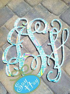 18 Interlocking Wooden Monogram Cutout Hand Painted by SayHayGifts, $88.00