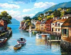 Lakeside Village, Murals Your Way, India Painting, Water Walls, Sky Full, White Clouds, Fishing Villages, Flower Market, Wall Murals