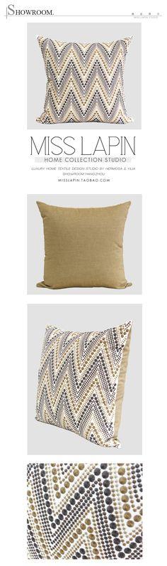 MISS LAPIN新古典/沙发床头样板房高档抱枕/金属色大波纹绣花方枕-淘宝网