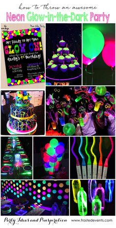 Party Themes- Neon Glow in the Dark Party Ideas- glow party pics, neon party pic… - DIY Ideen 13th Birthday Parties, Birthday Party For Teens, Sleepover Party, 16th Birthday, Diy Birthday, Birthday Celebration, Cake Birthday, Teenage Girl Birthday, 18th Birthday Party Themes