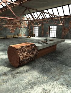 unique one off oak concrete kitchen werkhaus 2 Inspired Tree Trunk Kitchen by Werkhaus