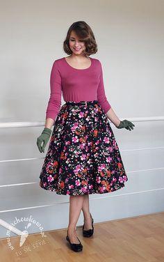 szycie, krawiectwo, sewing, handmade, 50s, retro, vintage, Burda, Capri, circle skirt, flower, print, kwiaty, bawełna, popelina, Skład Bławatny