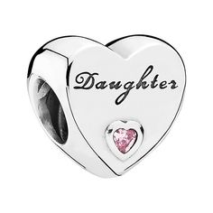 PANDORA 'Daughter's Love' Charm (3.440 RUB) ❤ liked on Polyvore featuring jewelry, pendants, heart jewelry, engraved jewelry, pink jewelry, pandora charms and pandora jewelry
