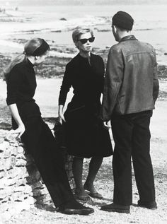 Bibi Andersson (center) with Liv Ullmann and Ingmar Bergman on the set of Persona (1966)  (Via)