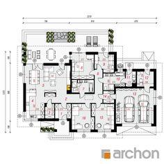 gotowy projekt Dom w alwach 4 rzut parteru Cottage Plan, Modern Architecture, House Plans, Sweet Home, Floor Plans, House Design, How To Plan, Mansions, Building