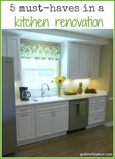 This blogger has done 2 kitchen renovations and is sharing her 5 must haves in a kitchen renovation! | Green With Decor