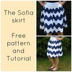 "FREE SEWING PATTERN:  The Sofia skirt for women - Easy Materials: 2 yards cotton fabric 4"" long zipper"