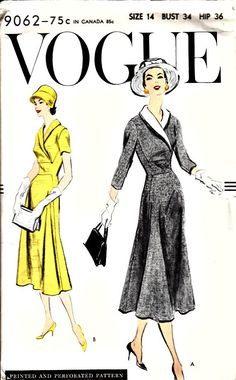 1950's Vogue Wrap Shawl Collar Dress VOGUE by shellmakeyouflip, $58.50