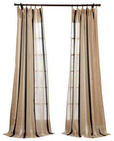 Карлтон натурального льна смесь полосой Sheer занавес - традиционные - шторы - полцены занавески