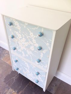 Have an old dresser? Why not wallpaper it for a fun touch in the nursery?!