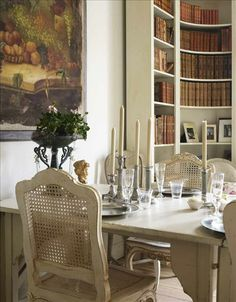 Little Emma English Home: French interiors/Love the rounded library shelves, would love to do that on the walls in my Piano room.