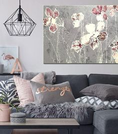 Modern art on canvas Painting on wood Wall decoration Color White, Cherry, Gray Original painting.