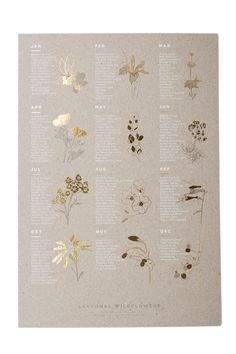 Foil-pressed on a 100-year-old press, these recycled chipboard posters walk you through which wildflowers are fresh every single month of the year!