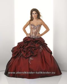 Metallic Look Ballkleid Brautkleid in Weinrot Gold