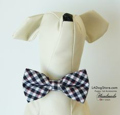 Plaid Black and white dog bow tie collar, Bow attached to collar, Puppy, Cat accessory, Puppy birthday gift, Dog Cat Collar, Small Collar