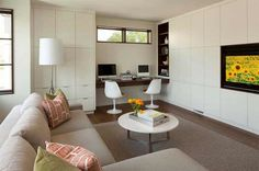 Family Room con home office