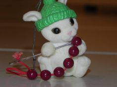 Christmas Mouse with Needle and Thread by baublesandblingforu, $7.00