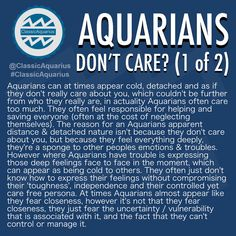 AQUARIANS DON'T CARE?. Slide this way ⬅️ to read the posts. Had a lot to say about this topic so I decided to split it into 2 posts lol. #ClassicAquarius #Aquarius #Aquarian