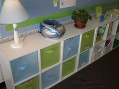 Blue and Green Classroom.  If only my bins didn't have dry erase and crayon scribbled on them.