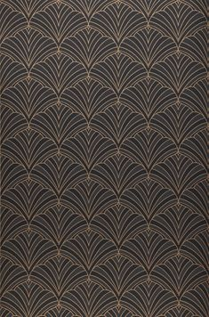 Unfathomable and yet so clear - this glamorous design wallpaper with stylised flowers in the famous Art Deco style is a real eye-catcher. Design Art Nouveau, Motif Art Deco, Art Deco Pattern, Pattern Design, Art Deco Print, Design Design, Wallpaper From The 70s, Black Wallpaper, Art Deco Wallpaper