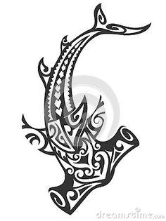 Illustration about Hawaiian tribal hammerhead shark design. Illustration of tribal, hammerhead, tattoo - 40130287 Maori Tattoos, Tribal Shark Tattoos, Hawaiian Tribal Tattoos, Body Art Tattoos, Sleeve Tattoos, Tatoos, Tattoo Foto, Sea Tattoo, Calf Tattoo