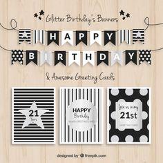 誕生日のバナーやカードブラックとシルバー 無料ベクター