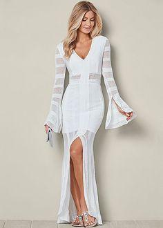 White Long Sweater Dress  | VENUS