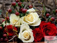 Winter Warmers - White and Red Roses, Naomi Rose, Hypericum Berries - Flowers by Flowers of the Hesperides Winter Flowers, Winter Warmers, Red Roses, Berries, Plants, Bury, Plant, Planets, Blackberry