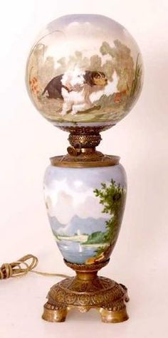 lighting, France, A Baccarat Gone With the Wind lamp. Painted with a scene of dogs. Both shade and base signed Baccarat. Electrified