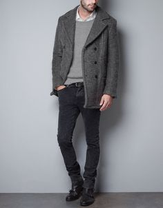 Great Outfit w/ DOUBLE-BREASTED 3/4 LENGTH COAT - Coats - Man - ZARA United States