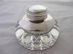 Antique c1910 Edwardian Sterling Silver Cut Glass Inkwell