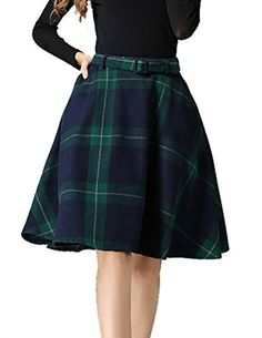 76d607a7d3 Armear Womens Vintage Wool Plaid Side Pockets High Waisted A Line Swing  Skirt MUS 6 Green