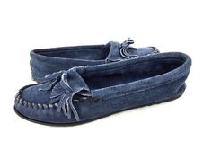 MINNETONKA Moccasins 9 Womens Navy Blue LEATHER Slip On Shoes…