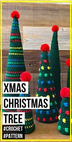 crochet Xmas Christmas Tree pattern - easy crochet christmas pattern for beginners Crochet Christmas Decorations, Crochet Christmas Trees, Xmas Tree Decorations, Christmas Tree Pattern, Crochet Decoration, Christmas Crochet Patterns, Christmas Knitting, Christmas Tree Toppers, Christmas Ornaments