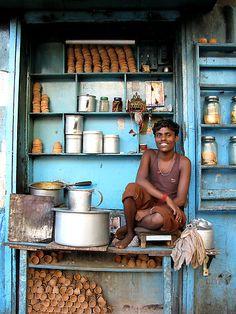 Happy Chai Wallah- :) Indian tea boy in Kolkata, West Bengal by jihyelee