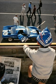 '65 Le Mans Ford GT40. Painted in blue and white, signifying that the car is both a Ford, and American. Shockingly all GT40's in the twenty-four hour race broke down due to brake, clutch, and fuel line failures, and the Ford team dropped out. Ford teamed up with Shelby right after the '65 race, and started collaborating to fix the issues with the GT40, and finally beat Ferrari once and for all during the upcoming race in '66.