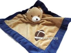 Tiddliwinks-Security-Blanket-Lovey-Bear-Football-Brown-Navy-Blue-Plush-0-3-Years