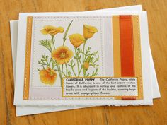 California Poppy  handmade sewn card by bluestemhandmade on Etsy, $5.00